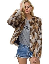 2eeba063c7f6 Vlunt Femmes Imprimé Manteau de Fausse Fourrure Doux Imitation Fourrure  Cardigan Décontractée Fourrure Synthetique Parka Chic