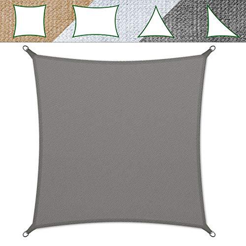 casa pura Sonnensegel für Garten, Terrasse & Balkon | wetterbeständig, UV-stabilisiert & atmungsaktiv | Sonnenschutz | Farbe Grau, quadratisch 3x3m