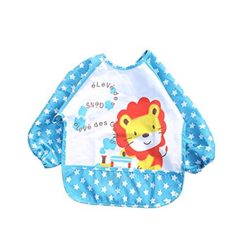 Befaith Unisex Infant Toddler Bebé impermeable Sleeved Bib Pocket animales patrón