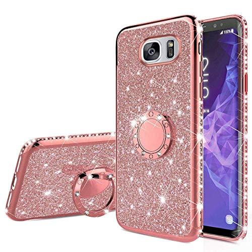 Nadoli Glitzer Hülle für Galaxy S7 Edge,Kristall Diamant Strass Bumper mit 360 Ring Kickstand Silikon Schutzhülle Handyhülle Frauen Mädchen für Samsung Galaxy S7 Edge,Roségold -