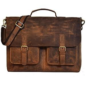 Umhängetasche Leder KK'S Bags Berlin Messenger Aktentasche Tragetasche Laptoptasche 15,6 16 Zoll Ledertasche Vintage…