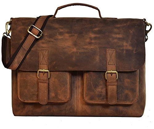 Umhängetasche Leder KK'S Bags Berlin Messenger Aktentasche Tragetasche Laptoptasche 15,6 16 Zoll Ledertasche Vintage Arbeitstasche SchultertascheBraun Herren Damen Groß XL -