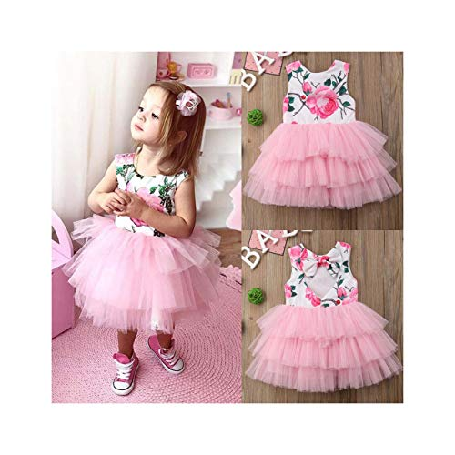 AAKOPE& Kinderkleider für Kleinkinder, Mädchen, Prinzessinnen-Blumen, Party, Festzug, Tutu, Tüll-Kleidung Gr. 40, - Softball Prinzessin Kostüm