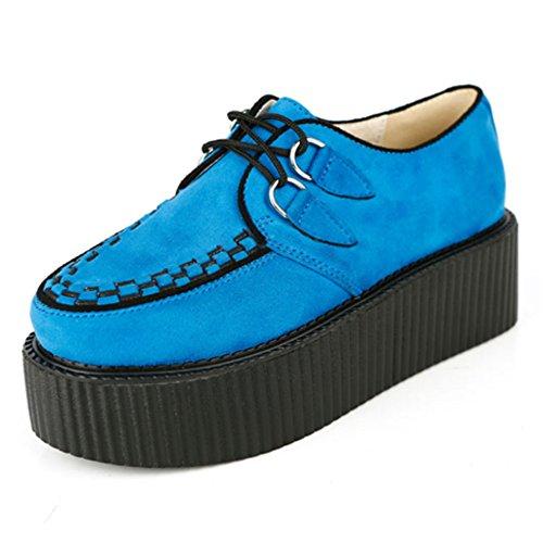 RoseG Damen Schnürschuhe Flache Plateauschuhe Gote Punk Creepers Schuhe Blau Size40