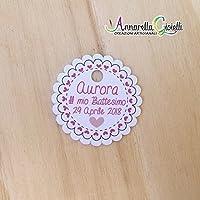 Cartellini per bimba personalizzati, ragazza, bomboniere, multicolor, etichette,matrimonio, battesimo, comunione, cresima, scalloppato bambina