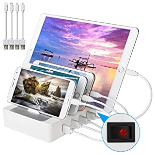 allcaca USB Ladestation Dockingstation 4-Port USB Ladestation für IOS Android und Typ-C, Weiß