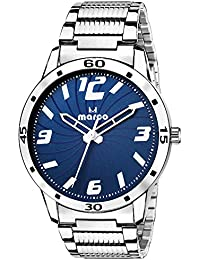 Marco Analogue Blue Round Dial Casual Wrist Watch For Men With Silver Case And Chain