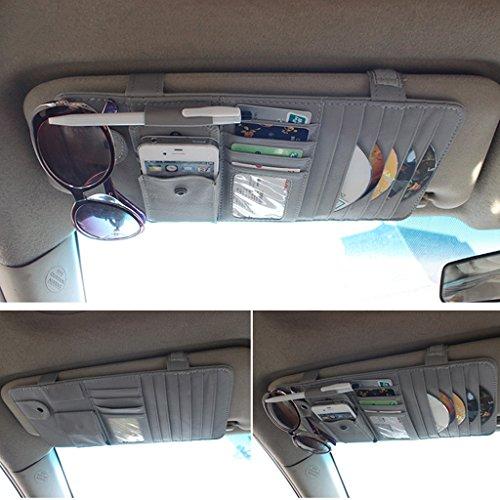 Preisvergleich Produktbild CareyNoce Auto Mehrzweck Sonnenblende Aufbewahrungstasche, CD-Halter, Brillenfassungen, Stifthalter, Karten-tasche ,  Handy-tasche -- (Grau)