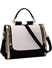TOOGOO(R) Fashion Women Handbag Shoulder Tote Ladies Purse Leather Messenger Crossbody Bag Black&White