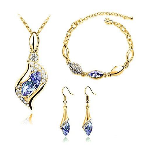 Qiuday Kette Damen Halskette Silber Anhänger Valentinstag Geschenk Schmuck 45CM Kettenlänge Elegante Luxus-Design neue Mode vergoldet bunten Kristall Tropfen Schmuck-Sets