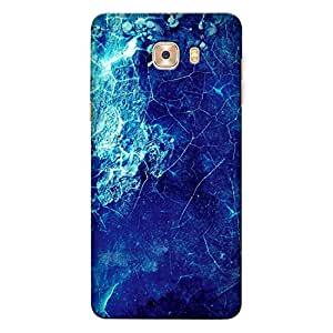 Samsung C5 Pro Premium Stylish Printed Designer Hard Back Cover Case | Blue Grunge Crack Texture | Rough | Colorful | Grungy | Scratch Proof | Lifetime Printing Guarantee | HD Printing Quality | Waterproof | Durable | Slim Light Weight | Matte Polycarbonate Plastic Case Cover | 3 Side Edge to Edge Printing - Crazyink