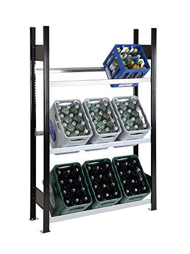 SCHULTE Getränkekisten-Grundregal 1800 x 1060 x 336 mm, schwarz/verzinkt, 3 Ebenen, für bis zu 9 Kästen; MADE IN GERMANY