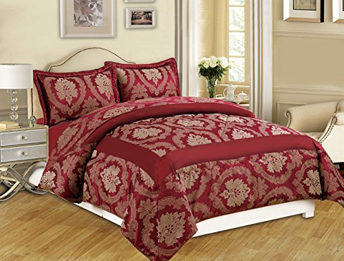 Moonlight20015 3 Stück Tagesdecke gesteppt Tagesdecke 220 GSM Tröster Set Bettwäsche Set, Betty Burgundy, Super King 260 x 270 cm -
