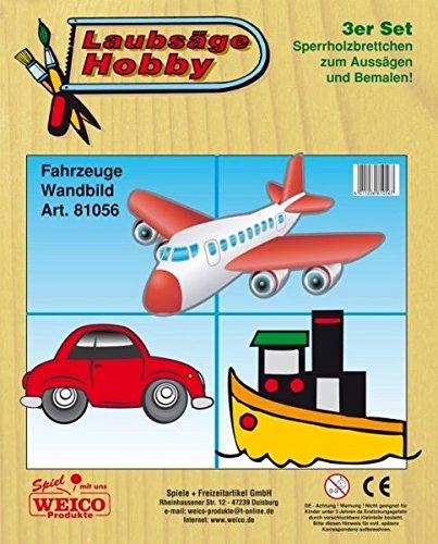 Weico 81056 Laubsägev Auto, Flugzeug, Schiff, 3 er Set -