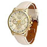 squarex Uhren für Damen Verkauf Business Classic Armbanduhr Platz, Unisex Casual Geneva Faux Leder Quarz Analog Armbanduhr Uhren, Damen, Beige, As Show