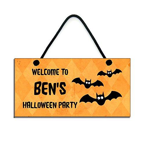 personalisierbar Halloween-Schild Welcome to Name Halloween Party handgefertigt Home Holzschild 672