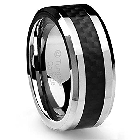 Cavalier Jewelers 10MM Men's Tungsten Carbide Ring Wedding Band Beveled Edges and Black Carbon Fiber Inlay Size Q
