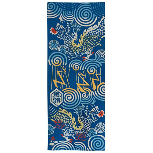 Azul algodón dragón japonés Tenugui