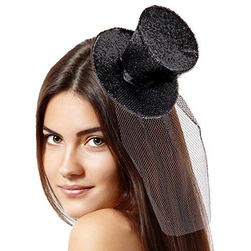 Folat Tiara mit Top Hat Glitzer (One Size, Schwarz)
