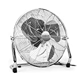 oneConcept Metal Blizzard XXL Boden-Ventilator 55cm große Windmaschine Stand-Ventilator für den Fußboden  silber