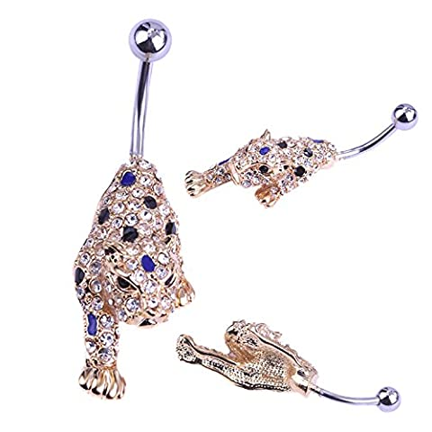 ESYN Bling Belly Bars Drop Body Piercing Belly Button Ring Crystal Dangly Navel Bar (Leopard)