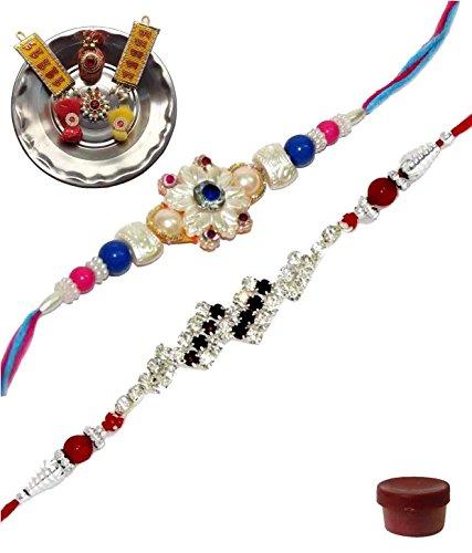 Adiari Fashion Set of 2 Multicolored Pearl AD Stone Bracelet Rakhi Combo with SS Thali for Men