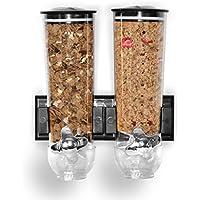 Dispensador de cereales de montaje en pared individual, doble triple hermético transparente con bandeja de