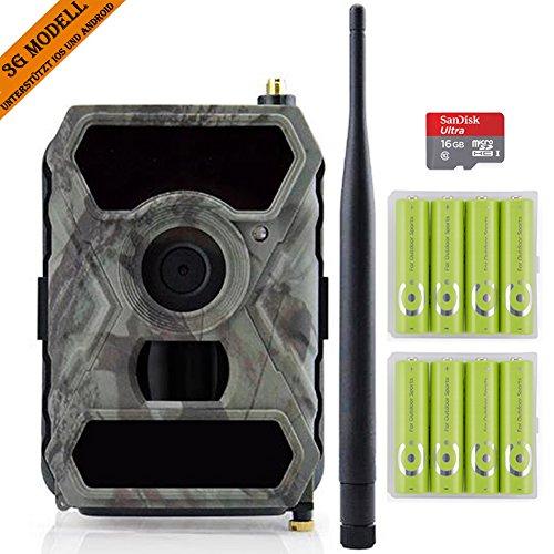 3G Wildkamera mit Bewegungsmelder, 3G Drahtlose Jagdkamera, 0.4s Auslösezeit 12MP 1080P HD Unsichtbare IR mit Nachtsicht Überwachungskamera, C10 SD Karte und 8AA Outdoor batterien sind dabe.