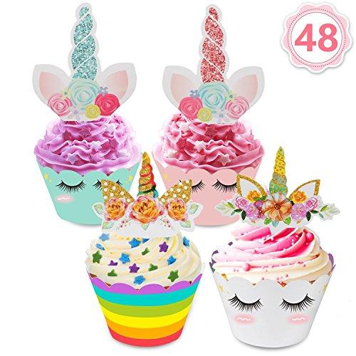 48 Stücke Einhorn Mini Cupcake Toppers und Wrappers Verpackung Beidseitig Handmade für Kinder...