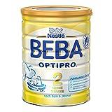 Nestlé BEBA Optipro 2 ohne Stärke, Folgemilch, 3er Pack (3 x 800 g), nach dem 6. Monat, Pulver, wiederverschließbar, mit praktischer Messlöffelablage, 800 g Dose