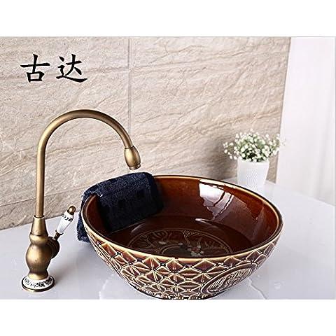 Ruotare blu e bianca porcellana lavabo Europei stadio antico bacino acqua fredda e calda singola maniglia foro singolo rubinetto