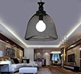 Sai Tai@LED Pendelleuchte Höhenverstellbar Küchen Deckenleuchte Wohnzimmer Designleuchte Deckenlampe Schlafzimmer Modern ,schwarz,Eisen,33cm*37cm