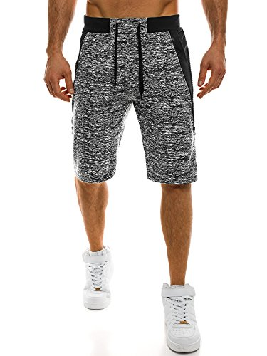 OZONEE Herren Hose Shorts Sportshorts Bermudas Knielang Jogg Fitness Sportshorts Kurzhose Sporthose Fitness RED FIREBALL w1108 SCHWARZ 2XL