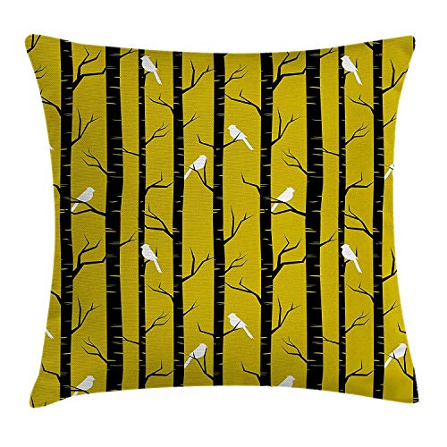 Yellow Decor Throw Pillow Cushion Cover, Modern Artdeco Style Design Forest with Birds and Trees Artwork, Decorative Square Accent Pillow Case, 18 X 18 Inches, White Black and Amber - Amber Kings Crown