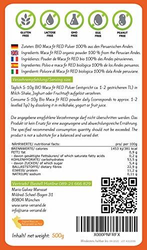 Bio Maca rotes Pulver 500g Original aus Peru, reines Maca Premium Qualität