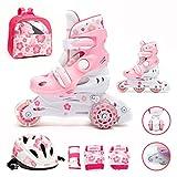 Kinder Inliner Inline Skates verstellbar Set LED Triskates mit Schutzset Helm Rücksack Rollschuhe Mädchen pink
