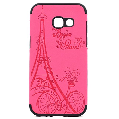inShang Coque Samsung Galaxy A3(2017) Housse Etui Plastique Case ductile TPU Rose tower