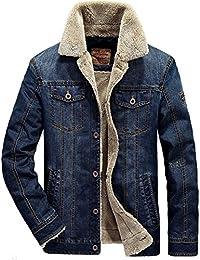 MENS Manches longues Jean Style Blouson Hiver Veste Jacket Trucker Denim épais chaud Jean-Coat Casual Outwear Homme