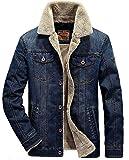 MENS Manches longues Jean Style Blouson Hiver Veste Jacket Trucker Denim épais chaud Jean-Coat Casual Outwear Homme (EU X-Large, FR66009 Bleu foncé)