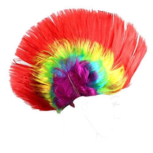 en Unisex Halloween Maskerade Party Punk Mohawk Mohican Hahnenkamm Haar Perücke Regenbogen Frisur Kostüm (3) ()