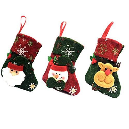 VONLUXE Weihnachtsstrümpfe zum Aufhängen, handgefertigt, Dekorationen, Strümpfe, Süßigkeiten-Beutel mit 3D-besticktem Weihnachtsmann, Rentier, Schneemann zum Füllen und Aufhängen