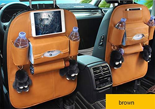 Auto Rücksitz Organizer, Leder Kleinigkeiten hängen Tasche, Kick Pad Rücksitzbezug und Getränkehalter, geeignet für Snack Tablet (2 Packs),Braun