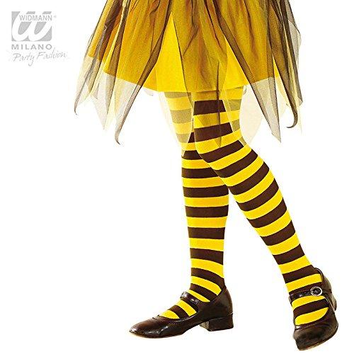 Mädchen Kostüme Biene Für (Widmann - Strumpfhose Mädchen Biene - Schwarz, Gelb - 1-3 Jahre - 70)