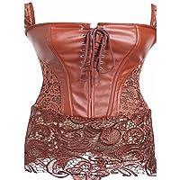 Mujer Vestido con Corsé Ropa de dormir,EncajeMedio Encaje Charol , brown , s