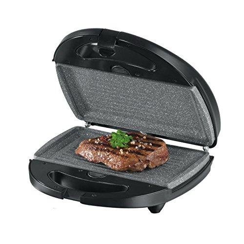GOURMETmaxx 00925 Tischgrill, Waffeleisen, Sandwich-Makerin einem | inkl. 3 auswechselbarer Platten | Granit-Look | Antihaftbeschichtung |700 Watt | Schwarz-Grau