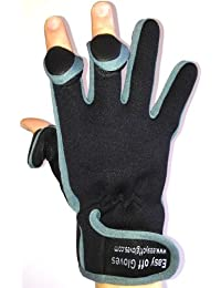Neoprene (Fold-Back Finger Tip) Velcro Gloves by Easy Off Gloves - Ideal for Riding, Shooting, Fishing, Cycling, Gardening, Photography, DIY and General Work Wear. -Size 9 Medium