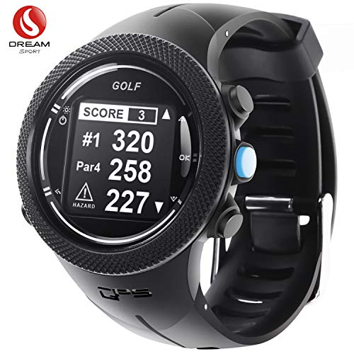 dream sport golf gps orologio con campo da golf, golf tracking watch con telemetro/ostacoli/scorecard/shooting distance dgf 3 (nero)