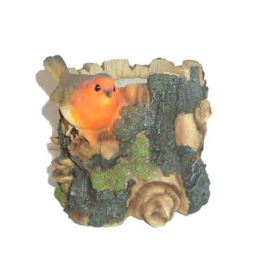 Robin tronc d'arbre fleurs – Lot de 2