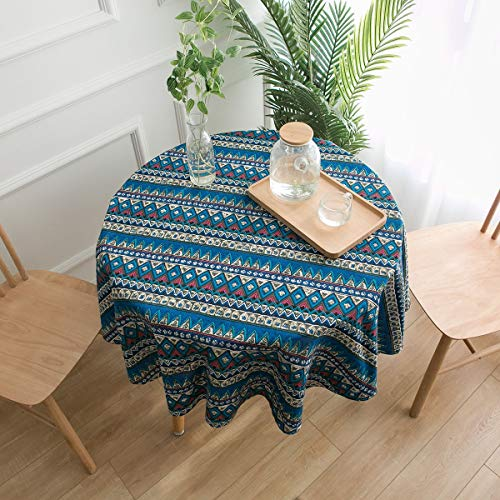 GUOAI Runde Tischdecke Aus Baumwolle Und Leinen Kleine Runde Tischdecke Mit Runder Bedruckung,geometricblue -