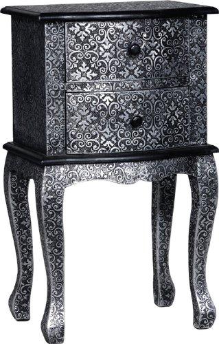 Beautiful Blackened Silver Embossed Metal Bedside / Lamp Table